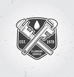 Vintage plumbing service badge banner or logo vector