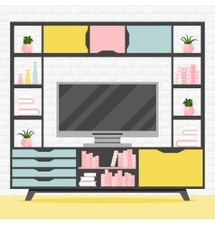 with TV table vector image vector image