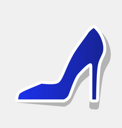 woman shoe sign new year bluish icon with vector image