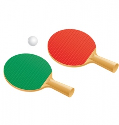 Table tennis paddles and balls vector