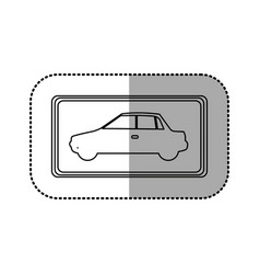 Figure square with car side inside vector