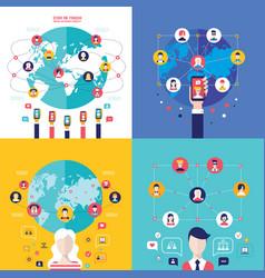 social network technology banner set user vector image