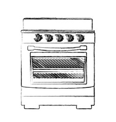 Monochrome sketch of stove with oven vector