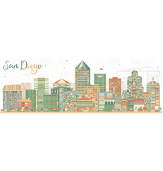 abstract san diego skyline with color buildings vector image