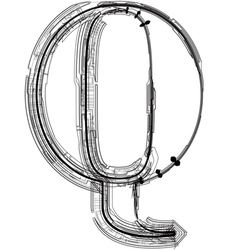Technical typography letter q vector