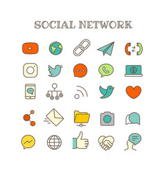 Different social networking thin line color icons vector