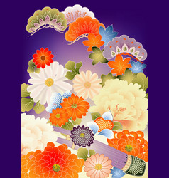 Floral design elements from vintage kimono vector image
