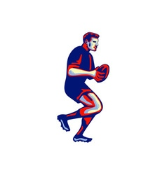 Rugby Player Running Passing Ball Retro vector image