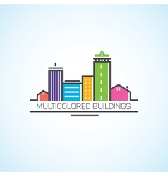 Multi-colored houses and high-rises in the flat vector