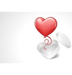 heart gift open with balloon vector image