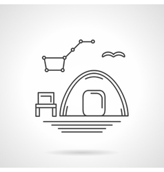 Camping at night flat line icon vector