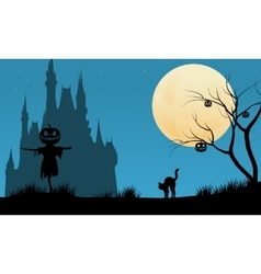 Halloween night background with scarecrow vector