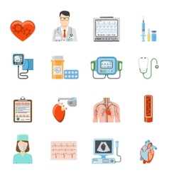 Cardiology flat icons set vector