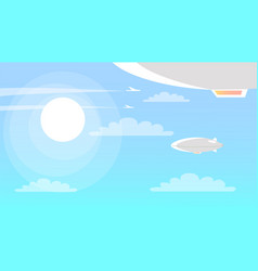 Airships flying in sky with clouds and shining sun vector