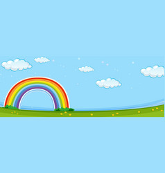 background scene with colorful rainbow vector image vector image