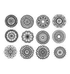 big set of hand drawn floral mandala isolated on w vector image vector image
