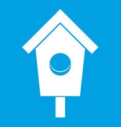 Birdhouse icon white vector