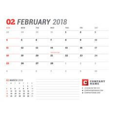 Calendar template for 2018 year february business vector