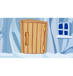 cartoon ice wall with door and window vector image