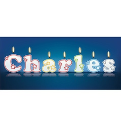 Charles written with burning candles vector