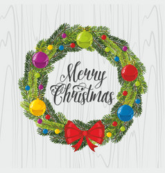 Christmas wreath and christmas tree toys vector