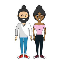 Couple man and woman with bow hair vector