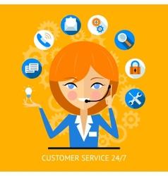 Customer service icon of a call center girl vector
