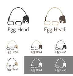 Egg head logo template set for a doctor scientist vector