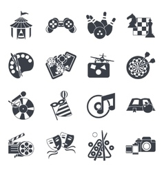 Entertainment Icon Set In Black vector image