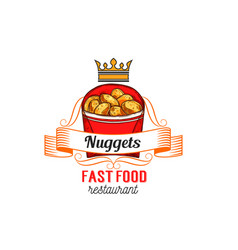 Fast food restaurant label with chicken nuggets vector
