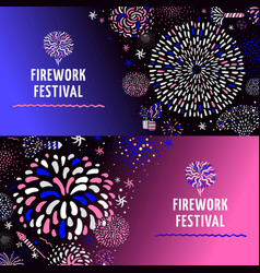 Festive firework 2 banners set vector