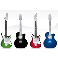Four guitars vector