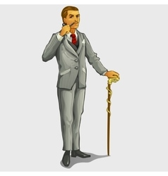 Gallant gentleman with cane and pipe retro image vector image vector image