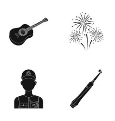 Guitar salute and other web icon in black style vector