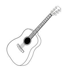 isolated guitar outline vector image vector image