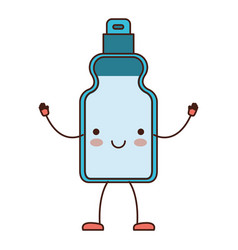 kawaii cartoon detergent bottle in colorful vector image