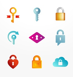 Logo icon set based on key and secure lock symbols vector