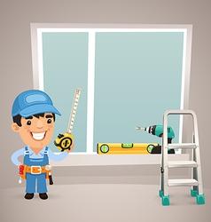 Male worker is installing the window vector