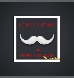 Modern mustache santa icon background vector