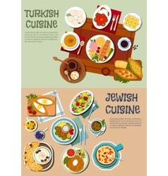 National cuisine of Turkey and Israel flat icon vector image