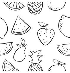 Patter of fruit hand draw collection vector