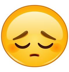 pensive emoticon vector image