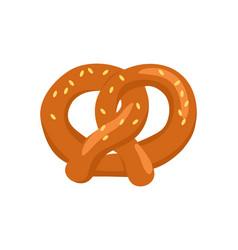 Pretzel crisp biscuit baked in form of knot icon vector