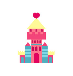 princess castle with heart cartoon vector image