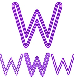 Purple line w letter logo design set vector