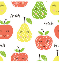 Seamles pattern with cute smiling fruits vector