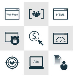 Set of 9 advertising icons includes coding vector