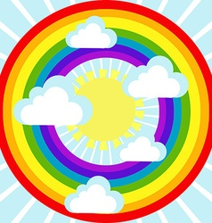 Sky background with clouds sun and rainbow vector image vector image