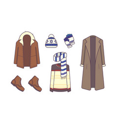 Stylish winter clothes and accessories style and vector
