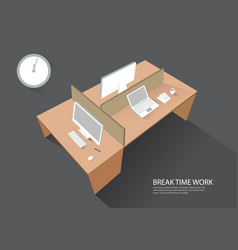 Workspace workplace computer table perspective vector
